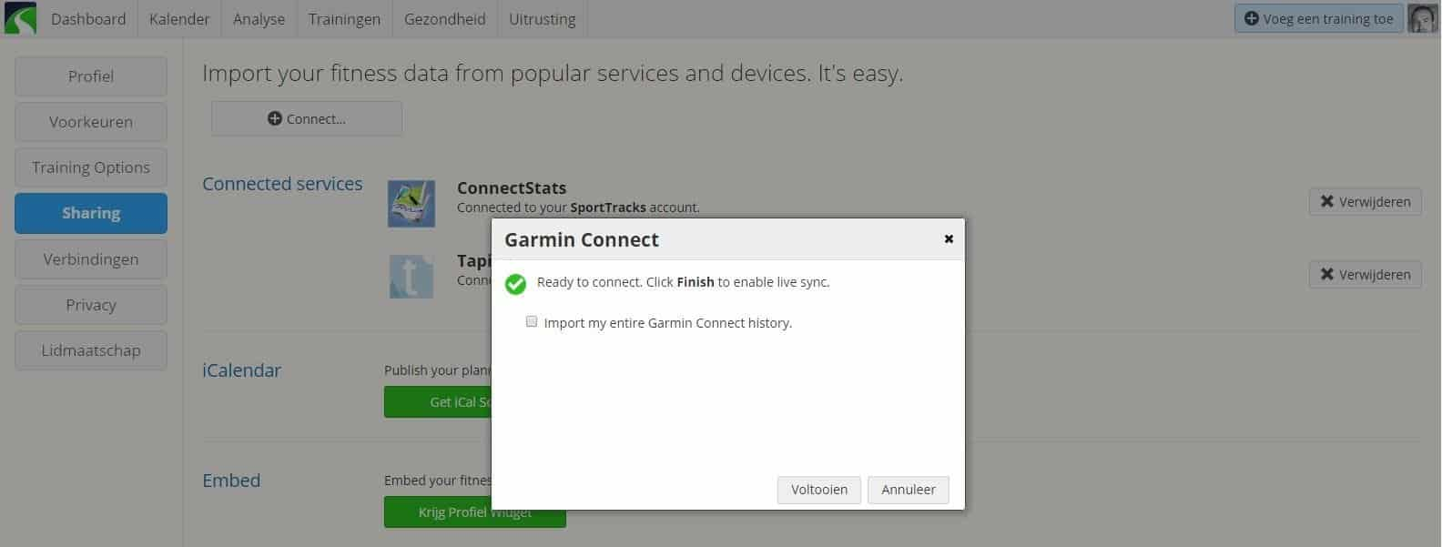 Garmin Connect synchroniseert nu automatisch met Sporttracks - Opfietsen